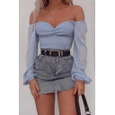 Summer Hot Popular Plain Blouson Long Sleeve Off The Shoulder Pleated Detail Cropped Blue Blouse