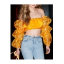 Summer Trendy Plain Sexy Off the Shoulder Long Sleeve Sheer Patched Yellow Blouse Top