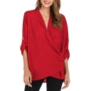 Womens New Stylish Simple Plain V-Neck 3/4 Sleeve Button Chiffon Blouse Top