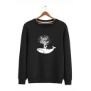 New Arrival Stylish Cartoon Shark Tree Boy Printed Round Neck Long Sleeve Unisex Casual Pullover Sweatshirts