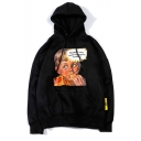 A Lovely Boy Letter Printed Long Sleeve Unisex Casual Trendy Drawstring Hoodie