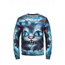 New Stylish Blue Cartoon Cat 3D Printed Long Sleeve Round Neck Trendy Pullover Sweatshirts