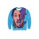 Trendy Smoking Man 3D Printed Long Sleeve Round Neck Blue Pullover Sweatshirts
