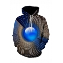 Creative Fashion Geometric 3D Printed Drawstring Hooded Long Sleeve Blue Loose Hoodie