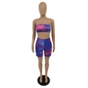 Womens Purple Ombre Print Skinny sleeveless Strapless Tops with High Waist Shorts Two Piece Set