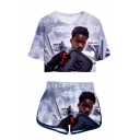 Trendy Tay-K 3D Print Patterns Short Sleeve Round Neck Crop Tee with Dolphin Shorts Co-ords