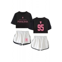 Trendy BTS Idol Sporty Style 95 Letters Print Short Sleeve Crop Tee with Dolphin Shorts Co-ords for Girls