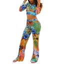 Floral Plant Print Hooded Long Sleeve Crop Tops High Waist Slim Fit Pants Two Piece Set