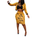 Women Fashion Tie-Dyed Color Print Round Neck Long Sleeve Crop Top with Skirt Co-ords