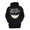 Black Letter Smile Face Print Hoodie
