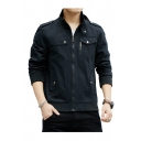 Mens New Stylish Simple Plain Lapel Collar Long Sleeve Button Detail Zip Up Casual Jacket Coat