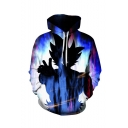 Hot Fashion Cool 3D Comic Character Printed Long Sleeve Loose Fit Blue Drawstring Hoodie