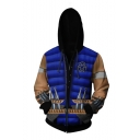 Cool Fashion Colorblock 3D Knife Printed Game Cosplay Costume Dark Blue Drawstring Zip Up Hoodie