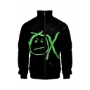 New Popular Cartoon Letter OX Print Stand Collar Long Sleeve Black Zip Up Casual Jacket