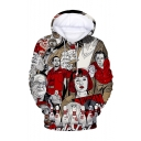 Hot Fashion Comic Character 3D Printed Drawstring Hooded Long Sleeve Red Loose Pullover Hoodie