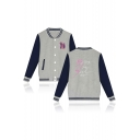 Fashion Letter BRING THE SOUL Print Long Sleeve Stand Collar Button-Down Baseball Jacket