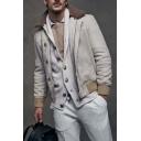 Men's Popular Lapel Collar Long Sleeves Single Breasted Plain Casual Loose Coats