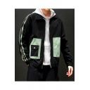 Men's Spring New Fashion Colorblock Print Lapel Collar Long Sleeve Pockets Casual Jacket