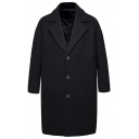 Men's New Fashion Plain Notched Lapel Collar Long Sleeve Single Breasted Peacoat