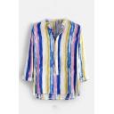 Mens Summer Colorful Stripe Printed Short Sleeve Lapel Collar Button Front Cottonl Shirt
