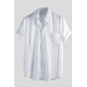 Mens Simple Vertical Striped Printed Lapel Collar Short Sleeve White Cotton Shirt