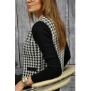 Female Fashion Houndstooth Panel Fitted Zip Up Black Jacket Coat with Pockets