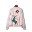 Preppy Embroidery Peacock Floral Printed Color-Block Fashionable Baseball Jacket Coat