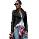 Women's Lapel Lapel Zipper Long Sleeve Cool Black PU Leather Moto Jacket