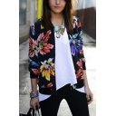 Floral Printed Stand-Up Collar Long Sleeve Tribal Style Zipper Black Thin Jacket Coat