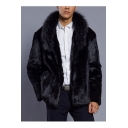 Men's Hot Popular Stand Collar Long Sleeves Open-Front Plain Casual Black Shearling Coats