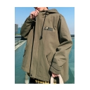 Men's Hot Fashion Long Sleeve Stand-Collar Letter CARRBT Print Zip Up Casual Hooded Jacket