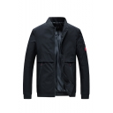 New Trendy Classic Plain Zipper Pockets Long Sleeve Stand-Collar Zip Up Casual Jacket For Men