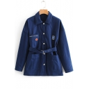 Simple Embroidery Letter Pattern Printed Detachable Belt Long Dark Blue Work Jacket Coat