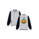 Unique Funny Halloween Pumpkin Printed Rib Stand Collar Long Sleeve Single Breasted Baseball Jacket