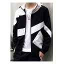 New Stylish Cool Colorblock Pattern Long Sleeve Zip Placket Hooded Jacket For Men
