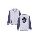 Hot Fashion Ginga Ninja Comic Print Stand-Collar Long Sleeve Button Down Loose Baseball Jacket