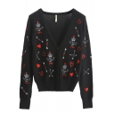 Autumn Winter Fashion Print V-Neck Long Sleeve Fitted Cardigan