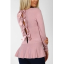 Ladies Chic Tie Back Round Neck Long Sleeve Fitted Sweater