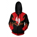 Iron Fist Fire Pattern Comic Cosplay Costume Black and Red Long Sleeve Zip Up Hoodie