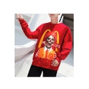 Hot Fashion Skull Letter Printed Round Neck Long Sleeve Trendy Pullover Sweatshirts