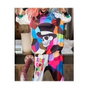 Unique Cool Colorful Skull Pattern Long Sleeve Loose Pullover Hoodie