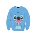 Hot Popular Blue Cartoon Doll 3D Printed Long Sleeve Round Neck Pullover Sweatshirts
