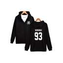Hot Sale Kpop Boy Group Letter Print Zip Up Long Sleeve Fitted Hoodie