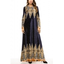 Moslem New Stylish Round Neck Long Sleeve Boutique Floral Tribal Print Swing Maxi Dress