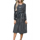 Womens Hot Fashion Round Neck Long Sleeve Striped Pockets A-Line Empire Waist Dress