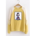 Fashion Cartoon Comic Girl Printed Color Block Round Neck Long Sleeve Pullover Sweatshirt
