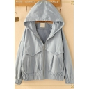 Girls Preppy Style Simple Plain Long Sleeve Hooded Zip Up Jacket