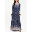Moslem Round Neck Long Sleeve Floral Print Pinstripe Navy Swing Maxi Dress