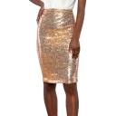Women Fashionable High Waist Sequined Solid Color Fitted Midi Pencil Skirt