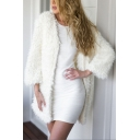White Chic Simple Plain Open Front Long Sleeve Longline Faux Fur Coat